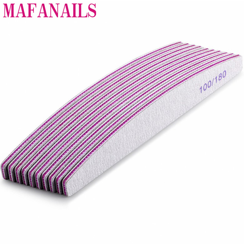 10Pcs Grey 100/180 Grit Nail File Buffer Block Nail Art Sanding Buffer Files  For Salon Manicure UV Gel Tips Washable Files Nail