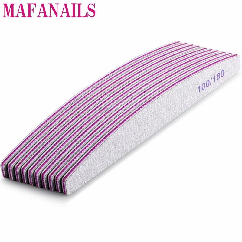 10Pcs Grey 100/180 Grit Nail File Buffer Block Nail Art Sanding Buffer Files  For Salon Manicure UV Gel Tips Washable Files Nail