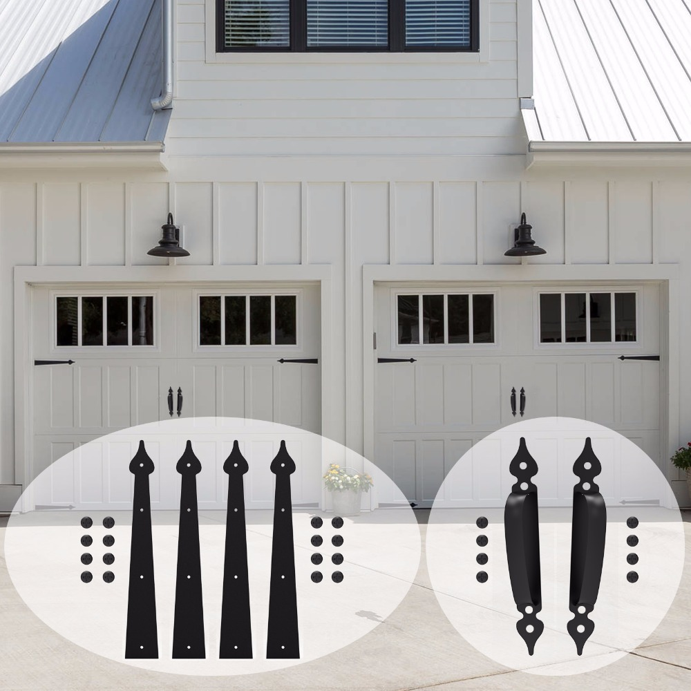 LWZH chariot maison Garage décoratif porte charnière Accent ensemble coulissant grange porte matériel Kit 6 pièce noir 2 poignées 4 charnières