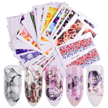48 Sheets Pretty Nails Wraps Flower Water Transfer Nail Art Stickers Foil Manicure Decal Decoration DIY Nail Tool SASTZ352-391-1