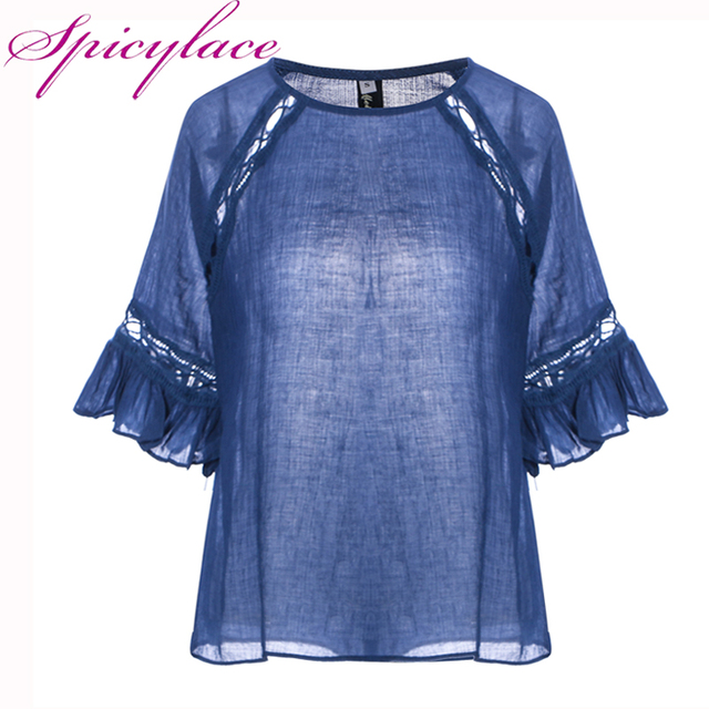 Spicylace Women Bohemian Short Sleeve Loose Pullover Floral Lace