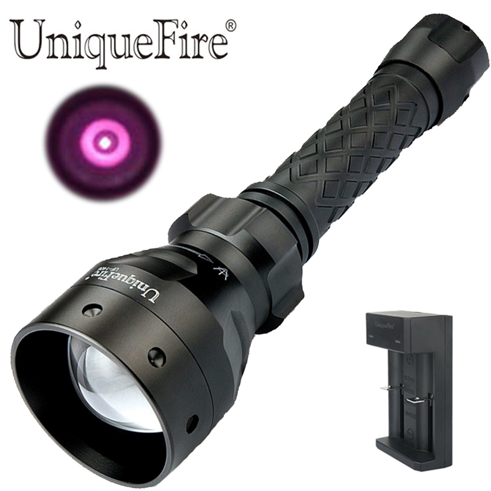 UniqueFire 1406 IR 940NM Infrared Light LED Flashlight T50 Zoom Tactical Torch  Lanterna With One-Slot USB Charger