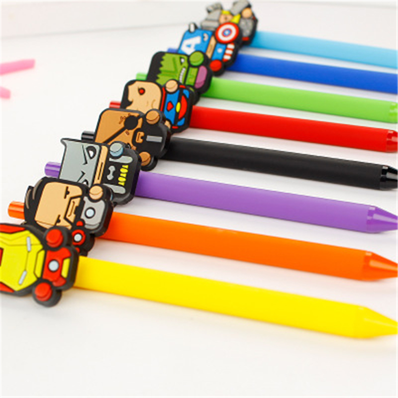 10PCS/Set Iron man Cute Gel Pen Kawaii Gel Pen 0.5mm Black ink Candy color pen for Kid Gift escritorio Papelaria School Supplies free shipping black desktop can paste developed counter neutral gel pen at the front desk business pen papelaria drawing z013