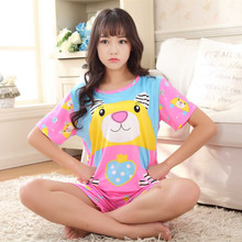Free Shipping Summer Fashion Women Pajamas Sets Animal Pattern Cotton Girls Short Sleeve Nightgown Sleepwear Cartoon Suit S12