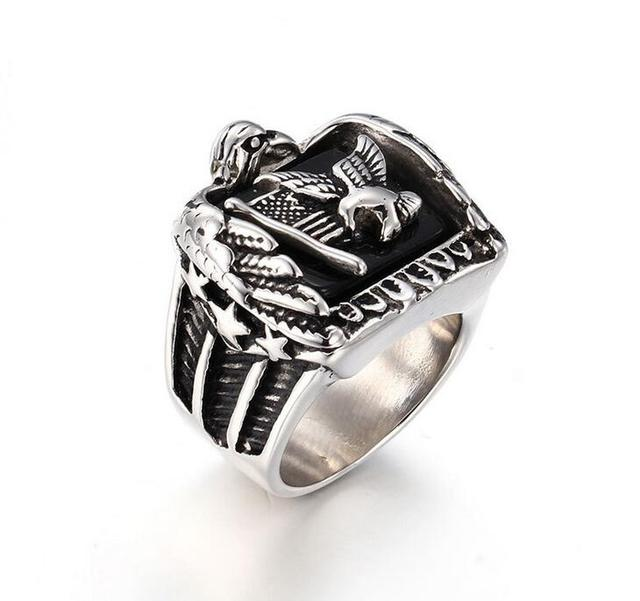 Punk Animal Eagle Ring Fashion Stainless Steel Rings cool Mens ...