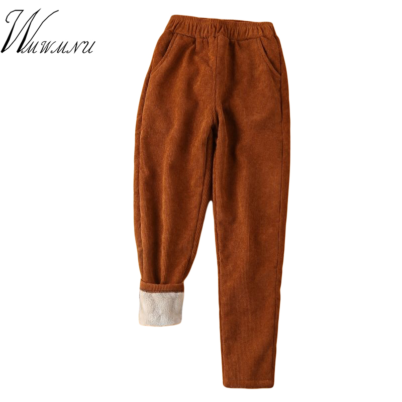 Winter Corduroy Casual Pants Women Autumn Thickened Cashmere Harem Warm Trousers Female Velvet  Lamb Wool Pants Plus Size 2019