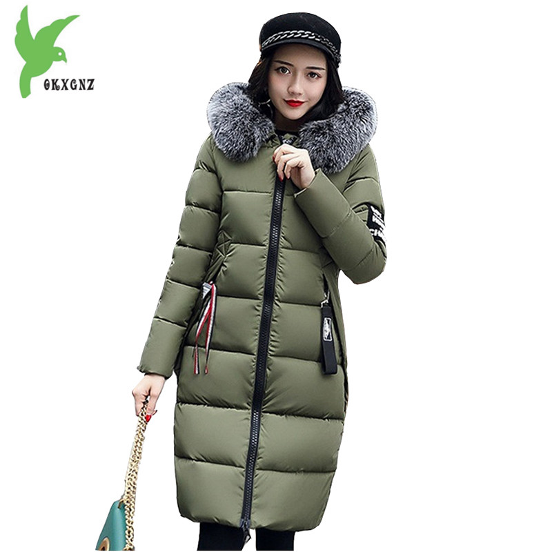 Women Down Cotton Long Coat New Winter Fashion Hooded Fur Collar Female Basic Casual Tops Plus Size Student Clothing OKXGNZ A810 hot new 2014 winter clothing women fashion fur collar hooded lace patchwork elegant slim plus size zipper long down coat wj1883