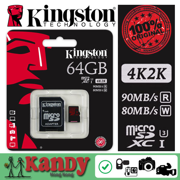 Kingston micro sd card memory card 32gb 64gb class 3 UHS-I U3 microsd 2K 4K video DSLR DSLM cartao de memoria tarjeta wholesale