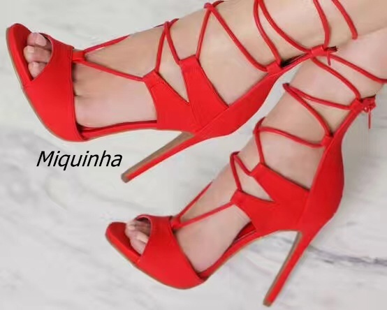 Classy Red Suede Cross Strap Peep Toe Sandals Women Sexy Cut-out Lace Up Stiletto Heel Dress Shoes Fashion Super High Heel Sanda hot selling tassels cut out women shoes thin high heel lace up peep toe sandals suede leather graceful party footwear