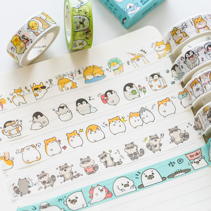 Cute Seal Panda Hamster Animals Masking Washi Tape Decorative Adhesive Tape Decora Diy Scrapbooking Sticker Label Stationery