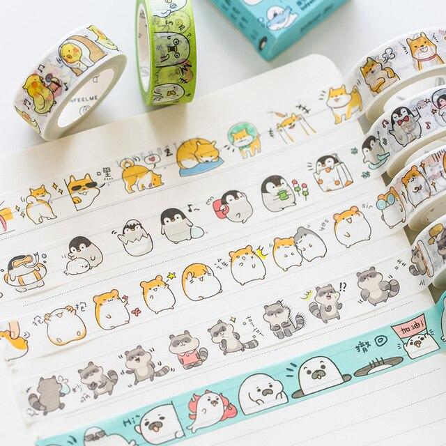 Lindo sello Panda hámster animales enmascarar Washi cinta adhesiva decorativa decoración Diy Scrapbooking etiqueta papelería