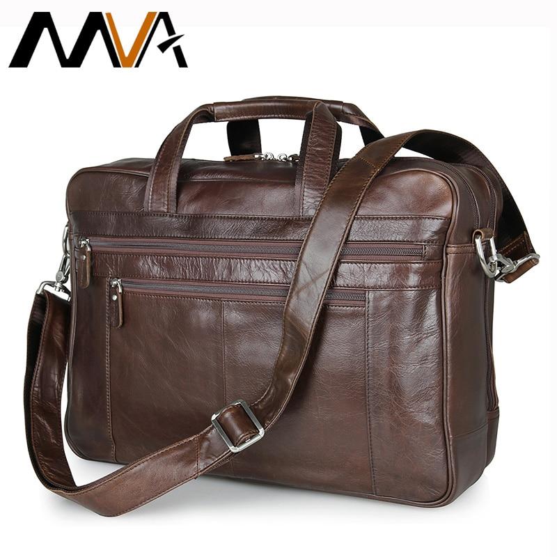 MVA Genuine Leather Men Bag Shoulder Crossbody Bags Business Men Briefcase Laptop Bag 16 inch Handbag Totes Fashion Lawyer Bags