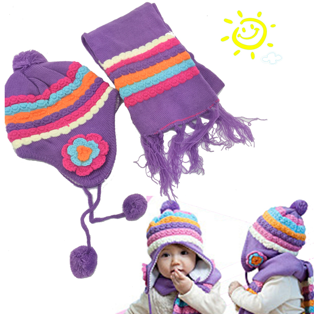 S008 free shipping Baby Winter Hat Scarf Cap Rainbow Striped Infant Hat  baby wool the rainbow hat + rainbow scarf Set