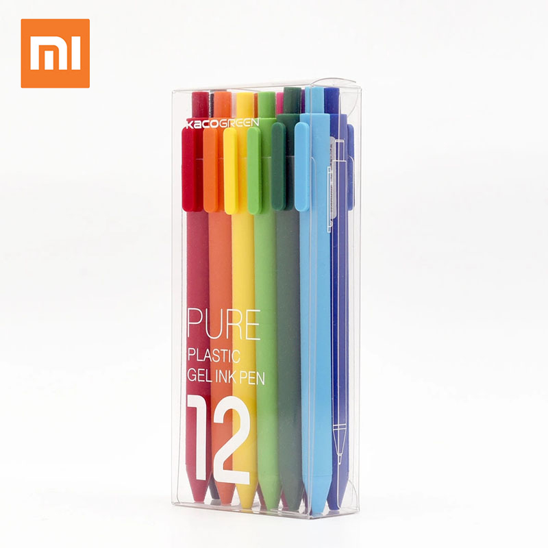 Original Xiaomi mijia KACO Gel Pen Ballpoint Ball Point for School Offical Sign Signing Rainbow Pen 12Pcs Colorful Ink