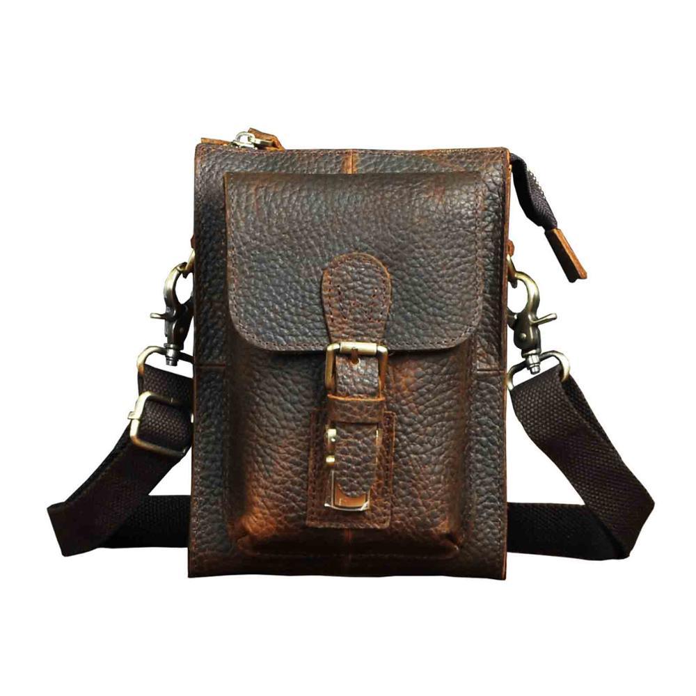 Модная Натуральная кожа Мужская многофункциональная Повседневная дизайнерская маленькая сумка мессенджер на одно плечо сумка через плечо поясная сумка для телефона - 5