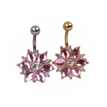 LS 1 Piece Surgical Steel Fashion Stainless Rhinestone Crystal Belly Navel Button Bar Ring Piercing Flower Design For Women