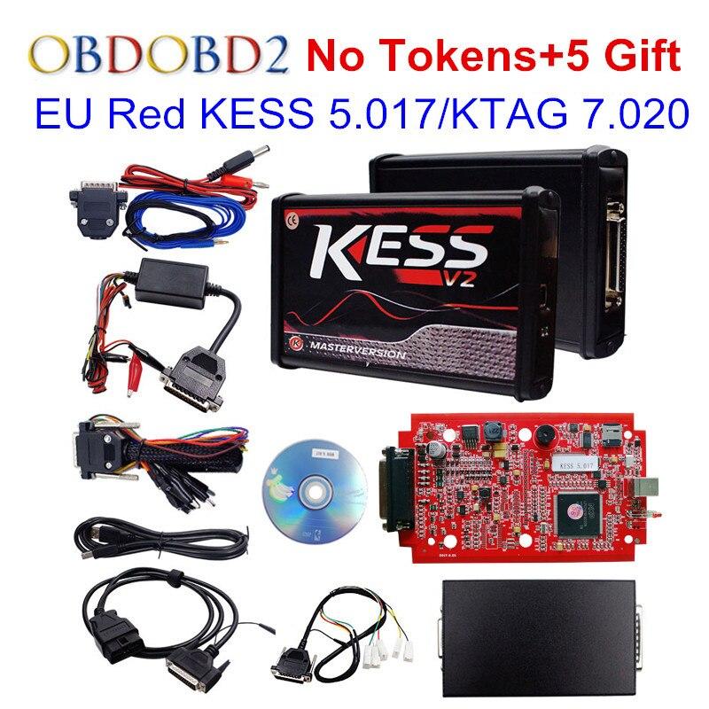 100% No Gettoni ROSSO KESS V2 V5.017 V2.23 ECU Centralina UE Master Online KESS 5.017 KTAG 7.020 Gestione Sintonia Kit Per Auto Camion