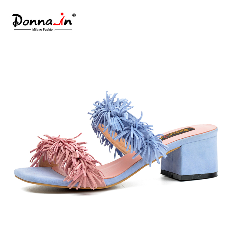 Donna-in 2018 New Arrival Women Genuine Suede Shoes Slippers Fashion Simple Style Tassel Decoration Summer Ladies Sandals