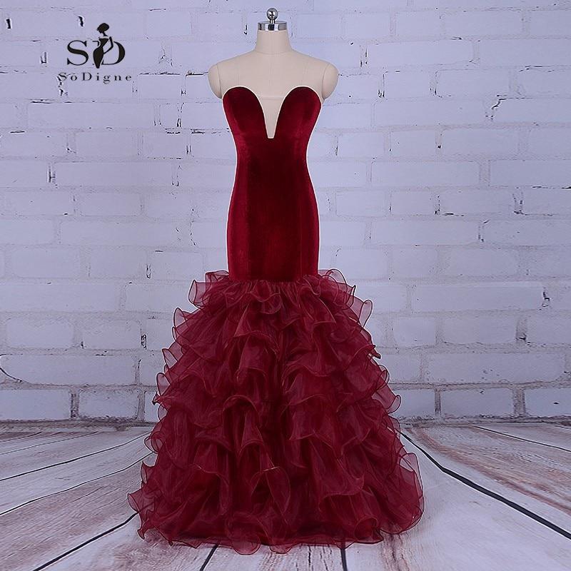 SoDigne bourgogne longue robe sirène robes de bal 2018 Vintage velours chérie robes de soirée Vestidos Formatura volants