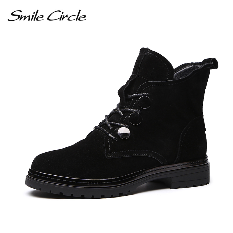 Smile Circle women Ankle Boots Suede High heel 2018 Winter Plush Warm Round toe Short Boots Black Ladies Shoes High quality smile circle suede cow leather chelsea boots women ankle boot fashion rivets round toe lady shoes women high heel boots