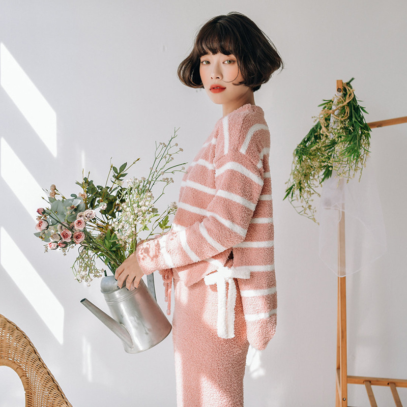2019 Winter Pajamas Women Casual Stripes Pijama Mujer Warm Simple Generous Soft Home Clothes Long Sleeve