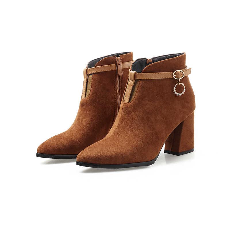 WETKISS 2018 Yeni Kalın Yüksek Topuklu Kadın Çizmeler Akın Ayakkabı Ayak Bileği Zip Çizmeler Kristal Moda Partisi Bayan Ayakkabıları Büyük Boy 32-47