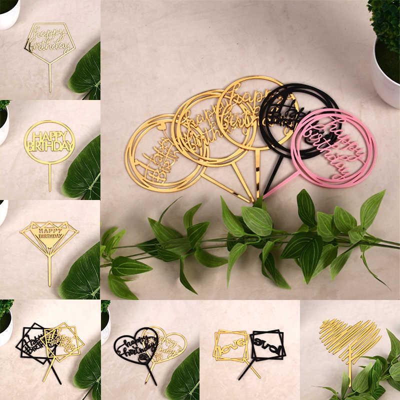 400 unids/lote Oro Negro cumpleaños decoración feliz estrás acrílico Metal boda pastel Topper