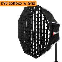 Triopo 90cm Photo Portabe Bowens Mount Softbox w/ Honeycomb Grid K90 Octagon Umbrella Outdoor Soft Box for Godox Jinbei Strobe