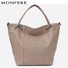 13fb501662 MONFERE 2018 Fashion Large Top-Handle Bag Vegan Leather Women Shoulder Bag  High Quality Tote