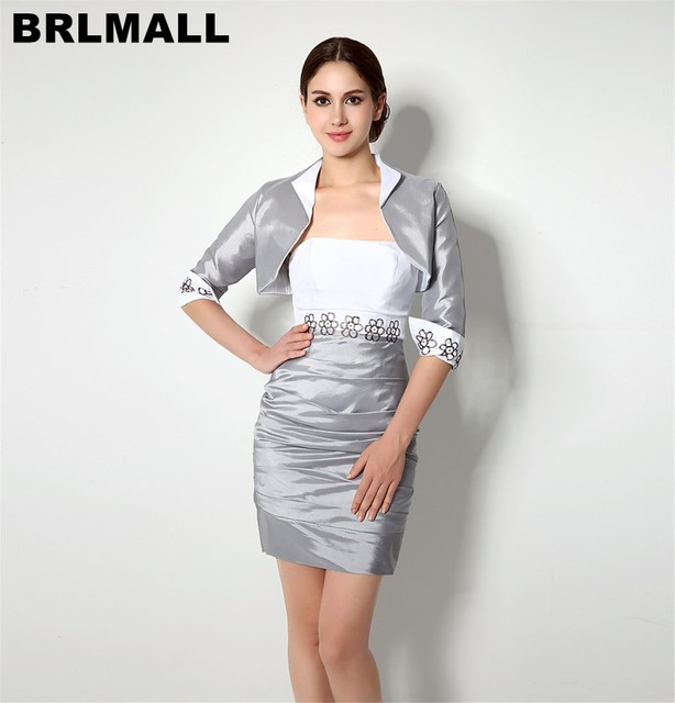 US $99.0 |BRLMALL High Quality Silver Plus Size Mother Of The Bride Dress  With Free Jacket Elegant 2017 Knee Length Evening Formal Gowns-in Mother of  ...