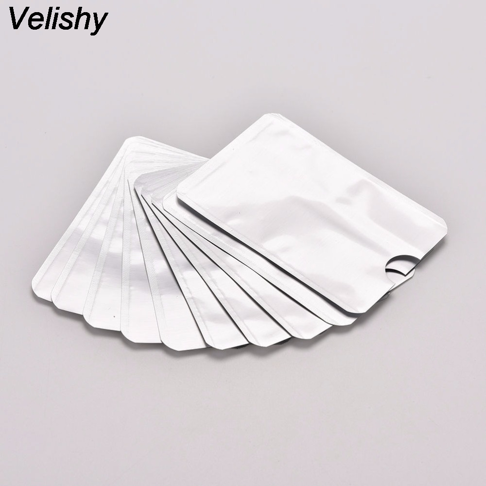 Luggage & Bags Coin Purses & Holders Imported From Abroad Velishy 10pcs/lot Silver Gray Aluminum Foil Anti Degaussing Id Credit Card Holder Business Card Case Skin Sleeves Fancy Colours