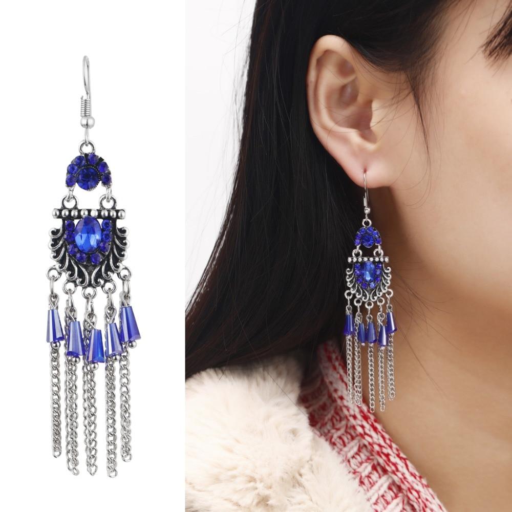 Statement Long Tassel Earrings Bohemian Colorful Crystal Dangle Drop Earrings For Women Silver Ear Jewelry Wholesale Price