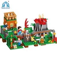 Qunlong New 487pcs Praia Volcano Base Block World DIY Buiding Modle Compatible Legod Minecrafted Action Figure
