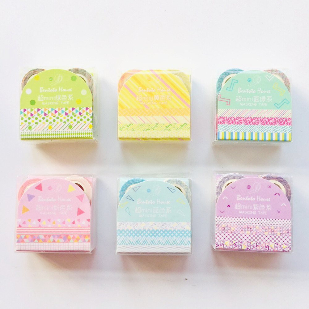 4pcs/ Pack Mni Rainbow Color Washi Masking Tape DIY Scrapbooking Sticker Decorative Stick Label
