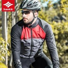 цена на Santic Autumn winter Thermal Fleece long-sleeved Cycling Jersey windproof light reflective bike clothing  Mountain Bike Jersey