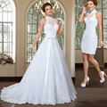 Robe De Mariage High Neck Removable Lace Wedding Dresses Detachable Two in One Vintage Wedding Dress Vestido De Casamento 2017