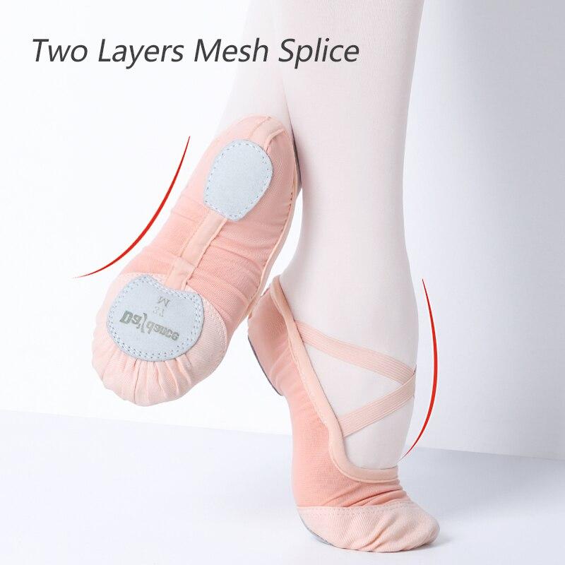 Summer Elastic Mesh Ballet Shoes Soft Split Sole Women Girls Ballet Slippers High Quality Ballerina Dance Shoes