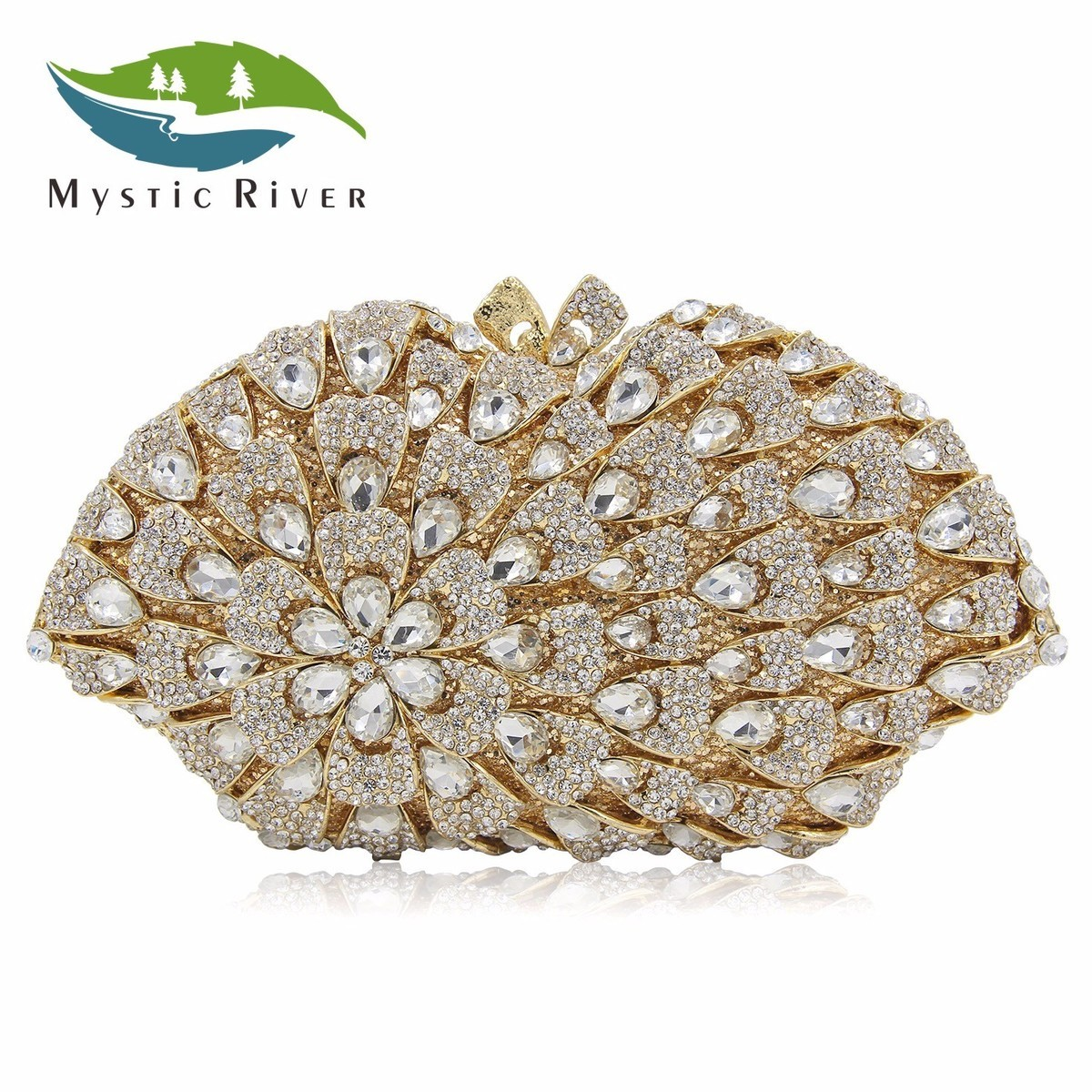 Mystic River Big Flower Women Evening Bag White Gold Handbag Crystal Purse сумка river island river island ri004bwzyz56