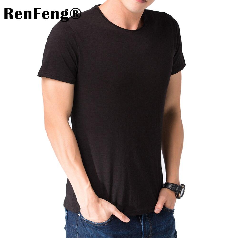 ... Brand 2018 Hot Sale New Men Clothing T shirt Summer Short Sleeve Curled  V-neck Blank ... 52fd93771