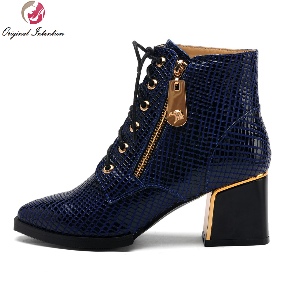 Original Intention Women Ankle Boots Square Toe Square Heels Boots Nice High-quality Black Blue Shoes Woman US Size 4-10.5 original intention high quality women ankle boots pointed toe square heels boots fashion black brown shoes woman us size 4 10 5