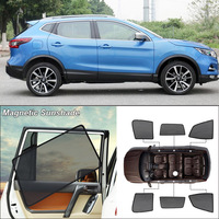 Car Side Windows Magnetic Sun Shade UV Protection Ray Blocking Mesh Visor For Nissan Qashqai Curtain Accessories