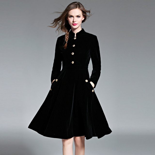 51f67225f01d Vintage Winter Women Dress Female Long Sleeves High Waist Robes A-Line  Black Corduroy Dresses Feminino Plus Size Vestido BH518A