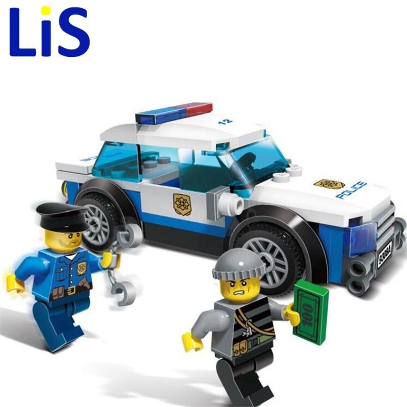 (Lis)GUDI 9308A Police cared man Pickup truck Set Building Blocks Set Model Bricks Toys birthday gift for Girls Toys