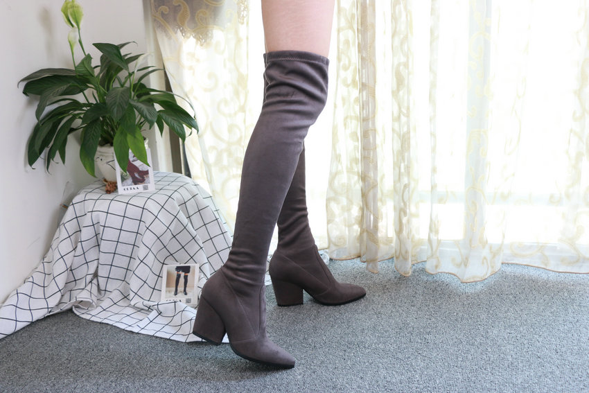 Women Hoof Heels Winter Shoes Pointed Toe Sexy Elastic Fabric Boots 66