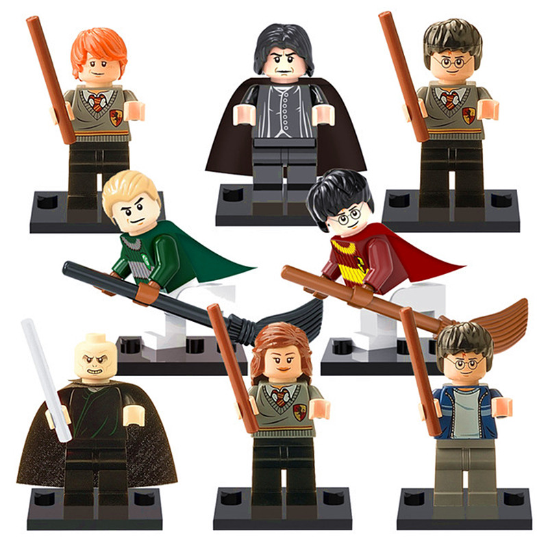 8PCS LegoINGlys Harry Potter Wand Hermione Lord Voldemort Draco Malfoy  Professor Snape Ron Figures With Weapons Building Blocks