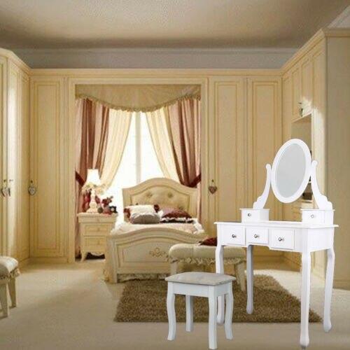 Современный туалетный столик с зеркальным табуретом и 5 ящиками из МДФ