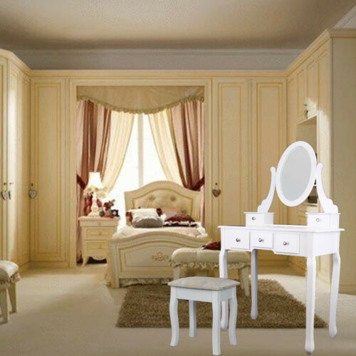 Table de maquillage moderne avec tabouret miroir et 5 tiroirs en MDF