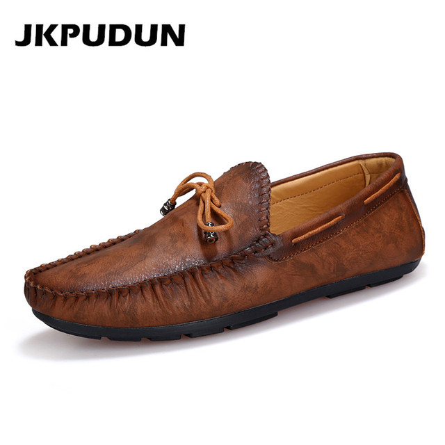 b656899ed2f1e JKPUDUN Italian Mens Loafers Leather retro Shoes Luxury Brand 2017 Designer  Flats Driving Casual Shoes Men High Quality Brown