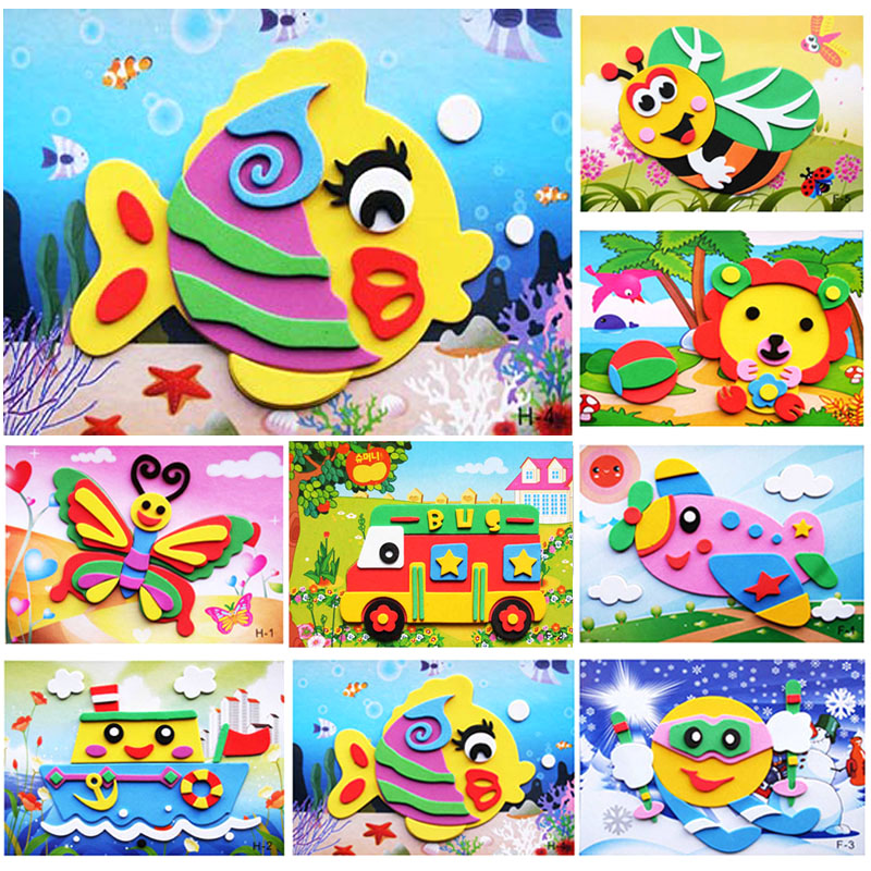 10 designs/lot DIY Cartoon Animal 3D EVA Foam Sticker Puzzle Series E Early Learning Education Toys for Children WYQ kids girl diy cartoon animal 3d eva foam sticker puzzle toys learning & education toys multi patterns styles random