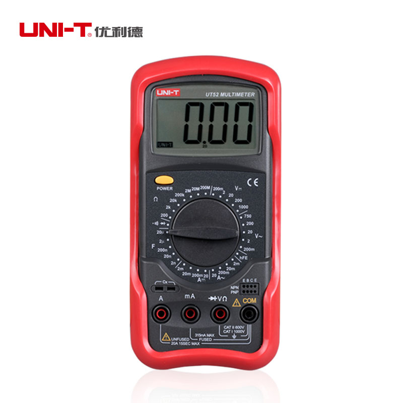 UNI-T UT52 Digital Multimeter Universal Meter Avometer Circuit tester DMM AC DC Voltage Current Resistance Diode Meter Tester 1 pair silicone wire universal probe test leads pin for digital multimeter needle tip multi meter tester probe 20a 1000v